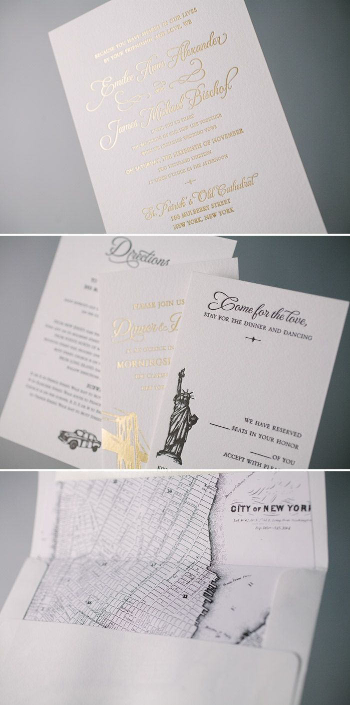 Classic Manhattan gold foil stamped wedding invitations with NYC ...