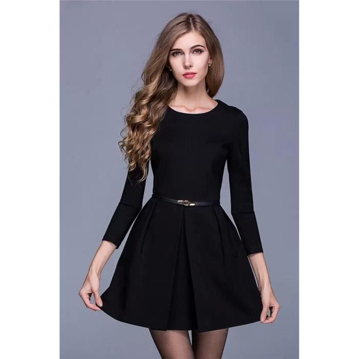 petite,robe,noire,evasee,courte,simple,chic (