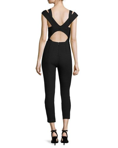 T9LKH Tracy Reese Sleeveless Jumpsuit with Cutout Back