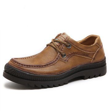 Men Outdoor Genuine Leather Wearable Casual Shoes