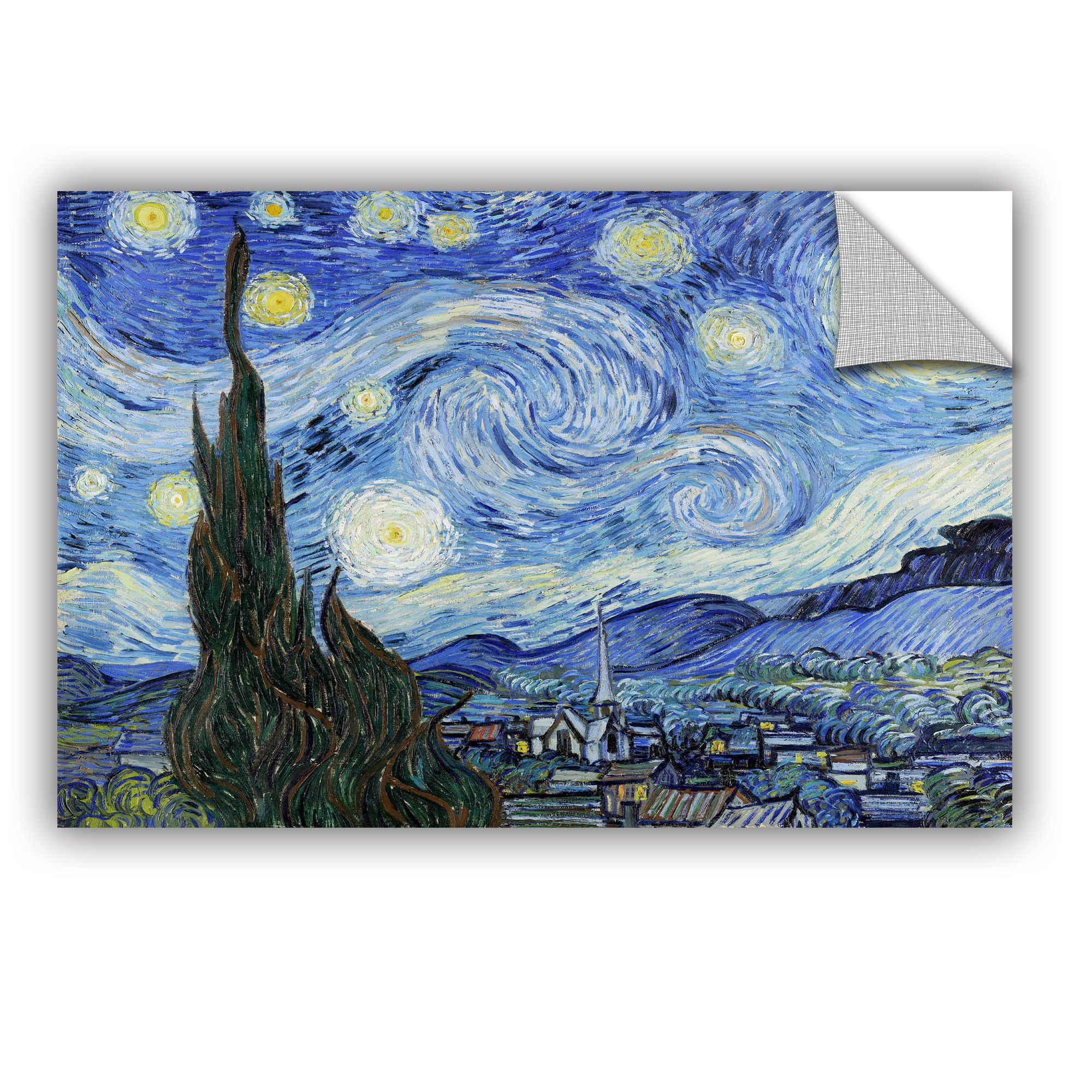 Starry Night Lighter Version By Vincent Van Goghremovable Wall Decal Gogh The Starry Night Canvas Art Wall Decor Canvas Wall Art