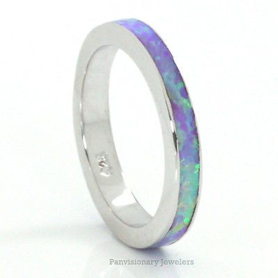 Stackable Lab Opal Ring Light Purple Orchid Fire Sterling Silver Eternity 3MM