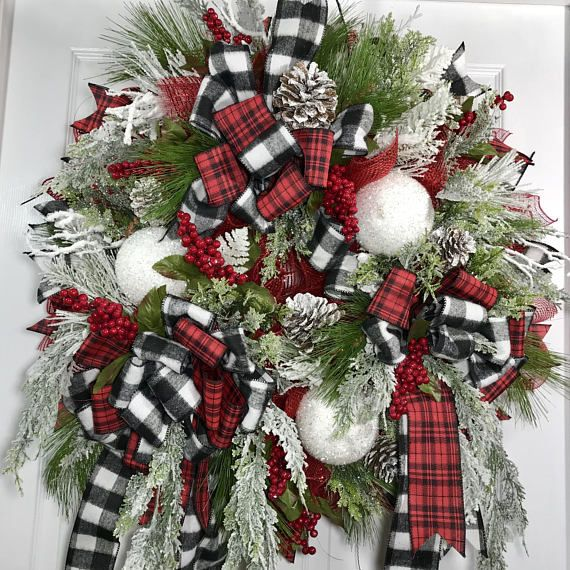 Christmas Black And White Buffalo Plaid Berries Pine Mesh Christmas Decorations Ornaments Christmas Wreaths Christmas Floral