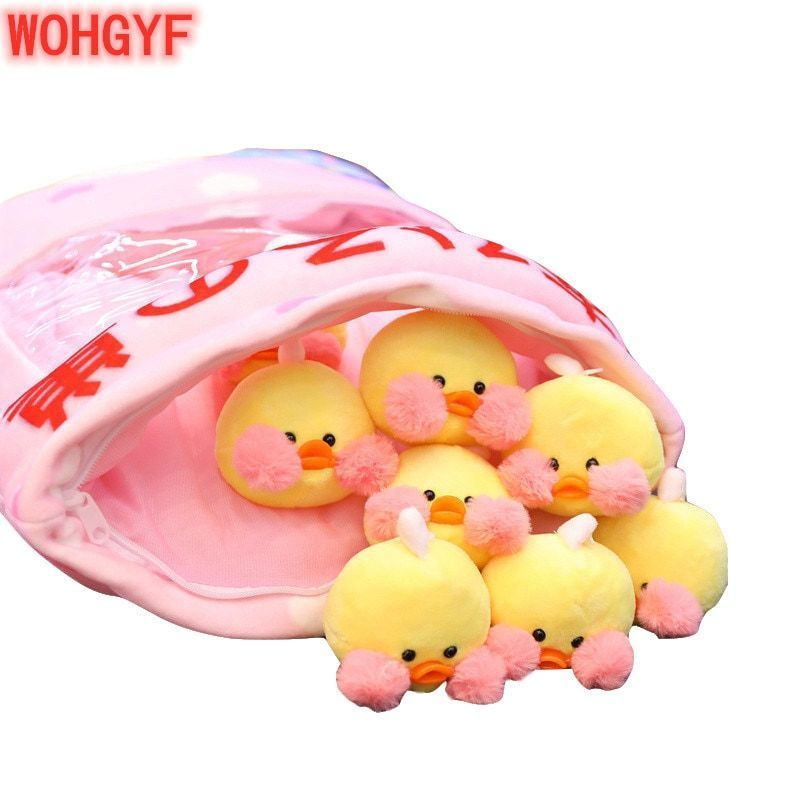 US $17.7 15% OFF|A Bag of Yellow Duck Plush Pillow Kawaii Cafe Mimi Lalafanfan Soft Stuffed Rabbit