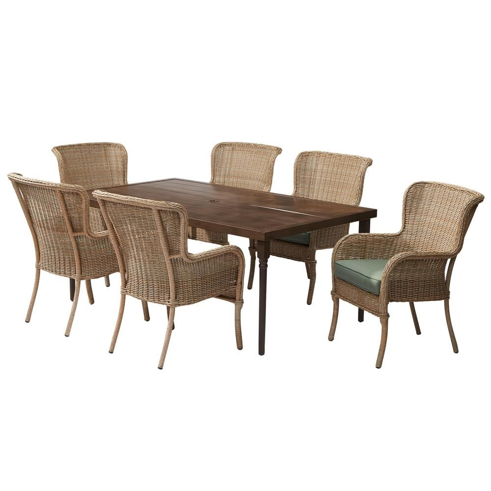 Hampton Bay Lemon Grove 7 Piece Wicker Outdoor Dining Set With Surplus Cushion D11230 7pc The