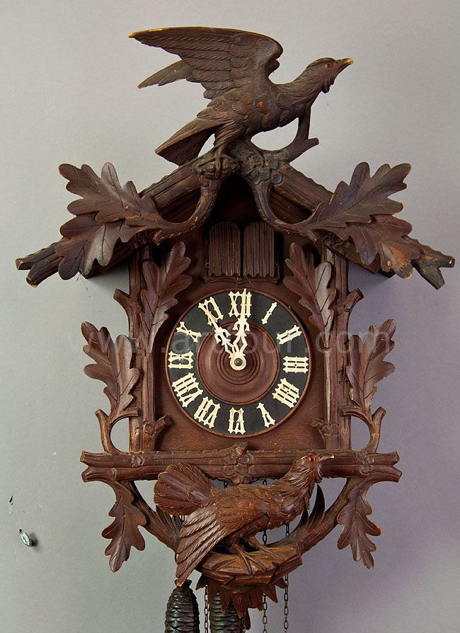 black forest carved wood cuckoo clock