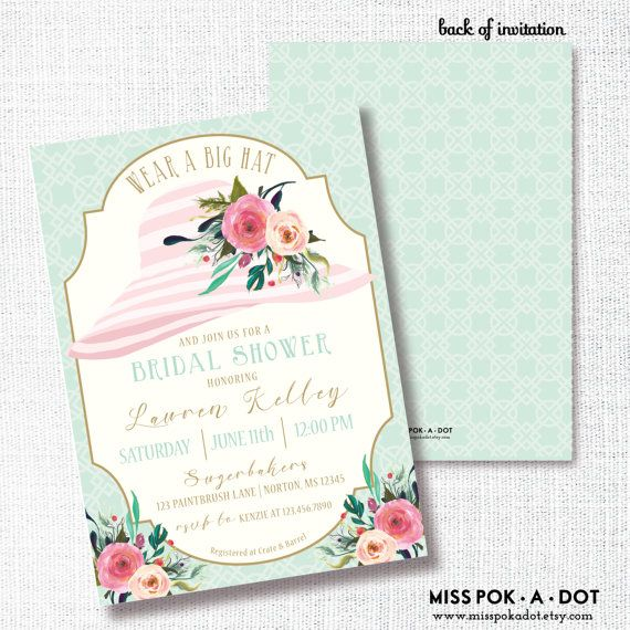 48df319f261 WEAR A HAT tea party bridal shower invitation watercolor flower brunch  wedding luncheon southern floral bachelorette Kentucky Derby Easter