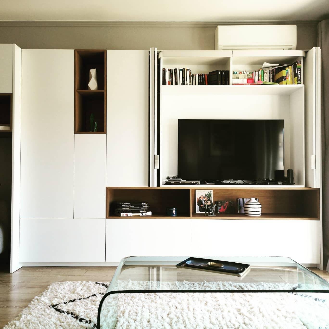 meuble tv avec portes escamotables