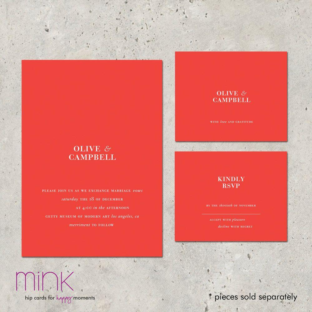 modern wedding invitations Metropolitan par minkcards sur Etsy ...