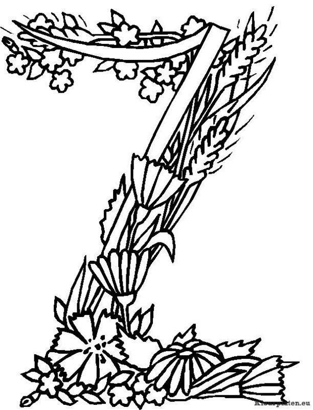 Kleurplaten Letters Bloemen.Alfabet Bloemen Kleurplaat Letter Art Alphabet Coloring