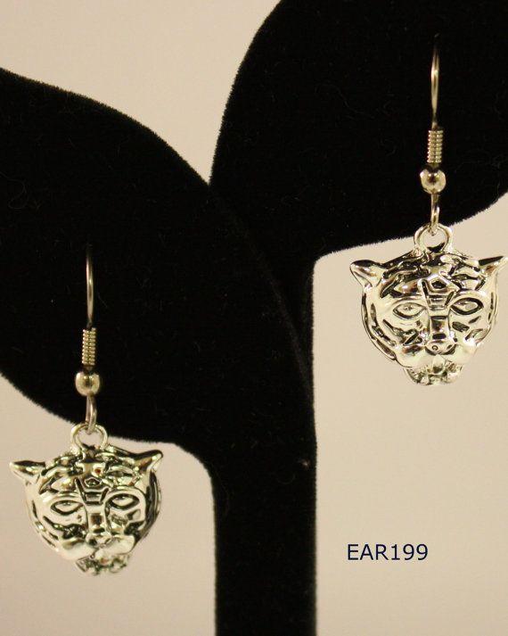 Tiger mascot charm earrings, tiger earrings, charm earrings, silver tiger earrings, tiger charm earrings