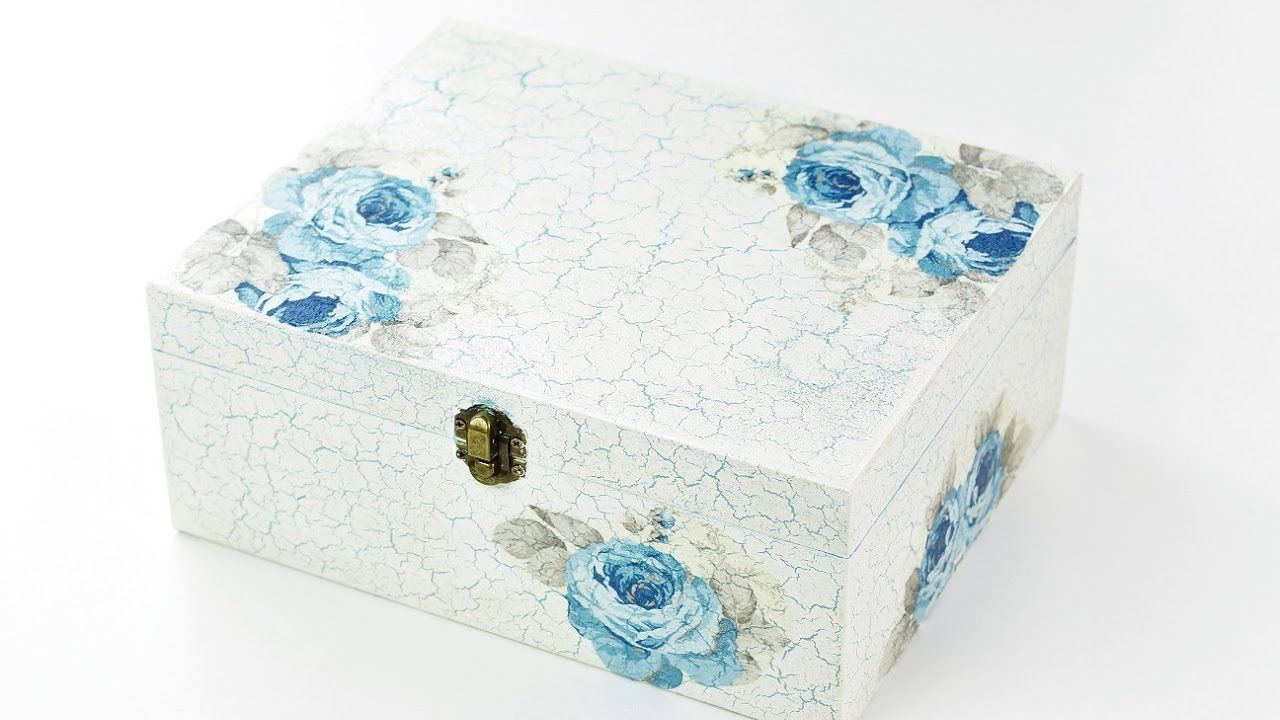 How to make decoupage box with easy crackle , Fast \u0026 Easy