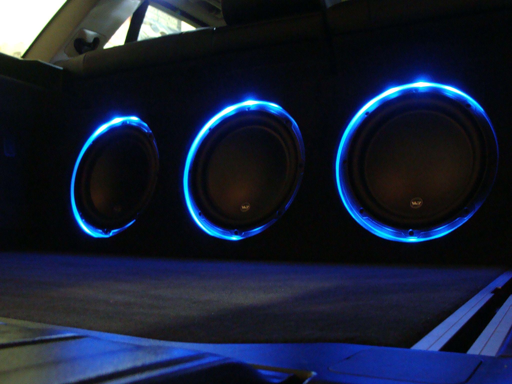 Custom Sub Box With Led Lighting Done In A Bmw X5 Custom Sub Boxes Custom Car Audio Stereo Systems