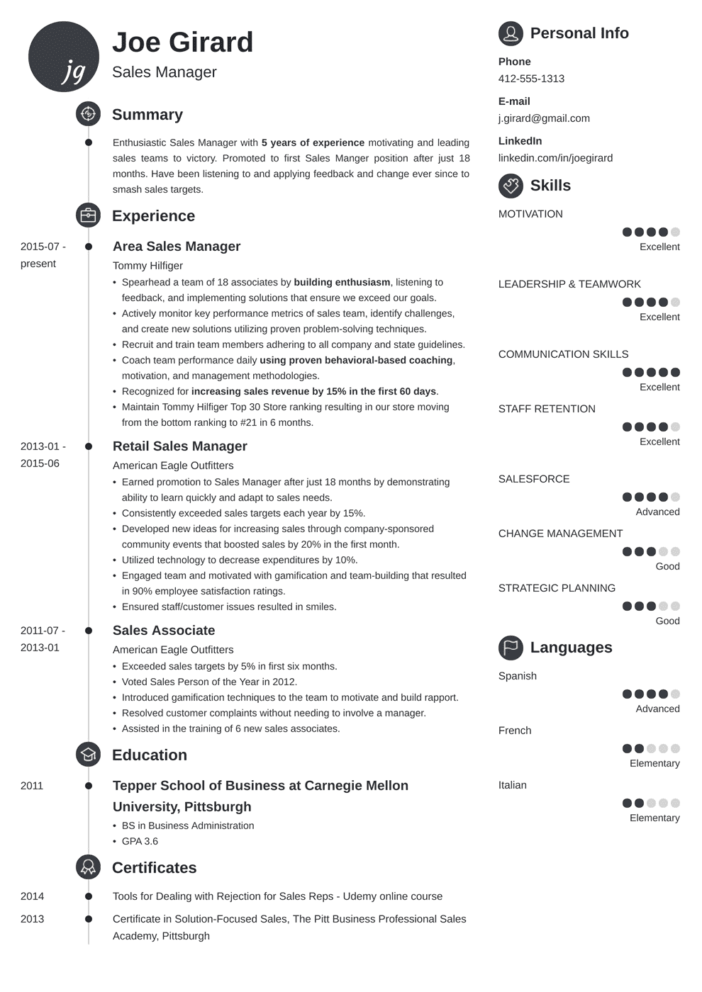 sales manager resume template primo in 2020 Manager