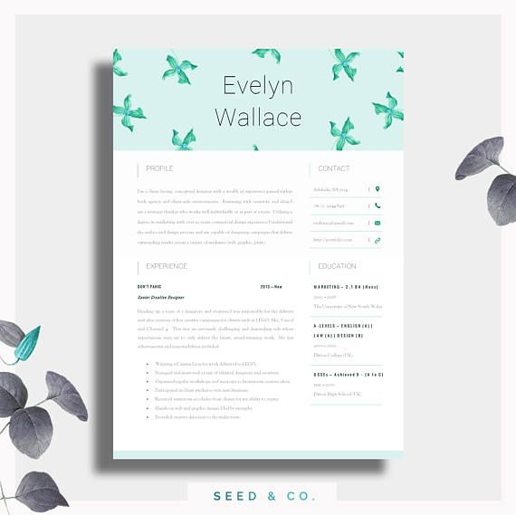 High Impact Resume Template Two Page CV Cover Letter