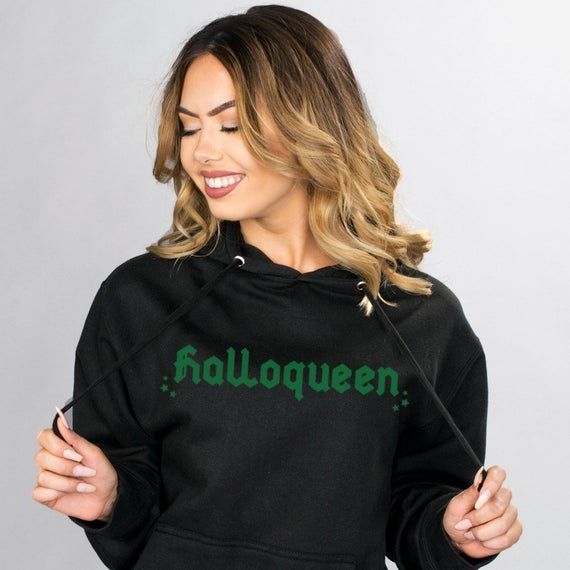 Halloqueen Black Hoodie Sweatshirt, Funny Halloween Fall Graphic Hooded Sweatshirt, Trendy College P #pumpkinpatchoutfit