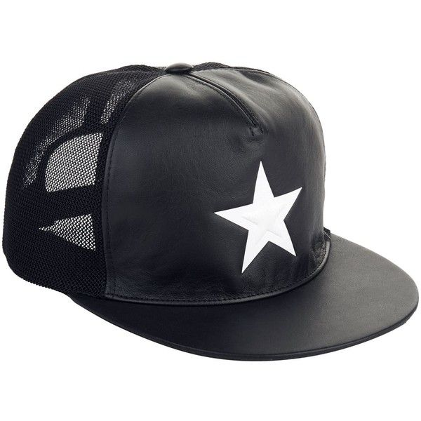 Givenchy Leather Star Printed Cap ( 510) ❤ liked on Polyvore featuring  accessories 1ac7025ebf6