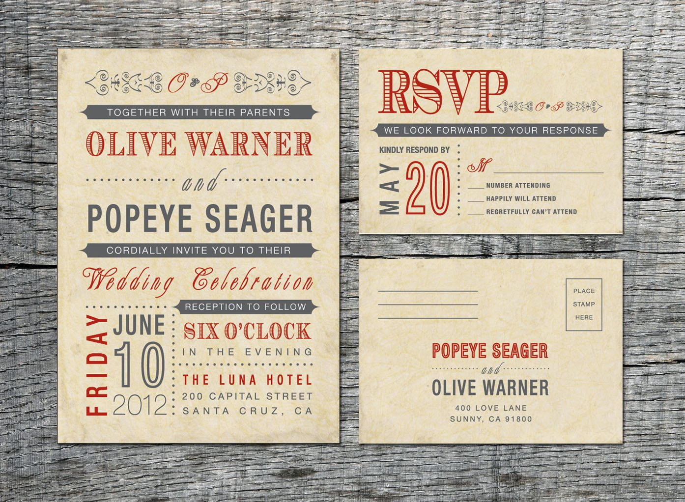Vintage Wedding Invitation & RSVP Card - Old Fashioned Style ...