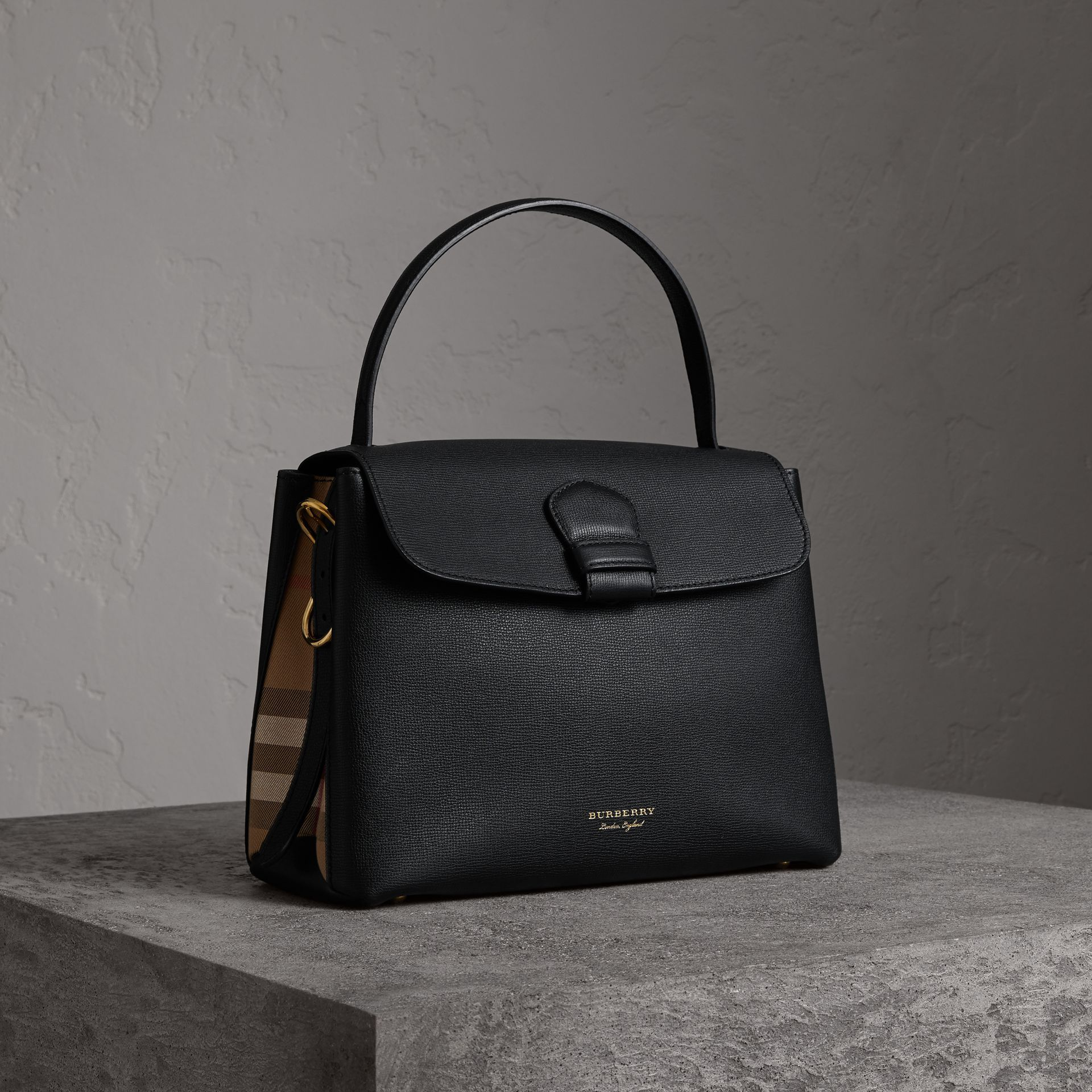 33494639ea2 Medium Grainy Leather and House Check Tote Bag in Black - Women   Burberry  Singapore