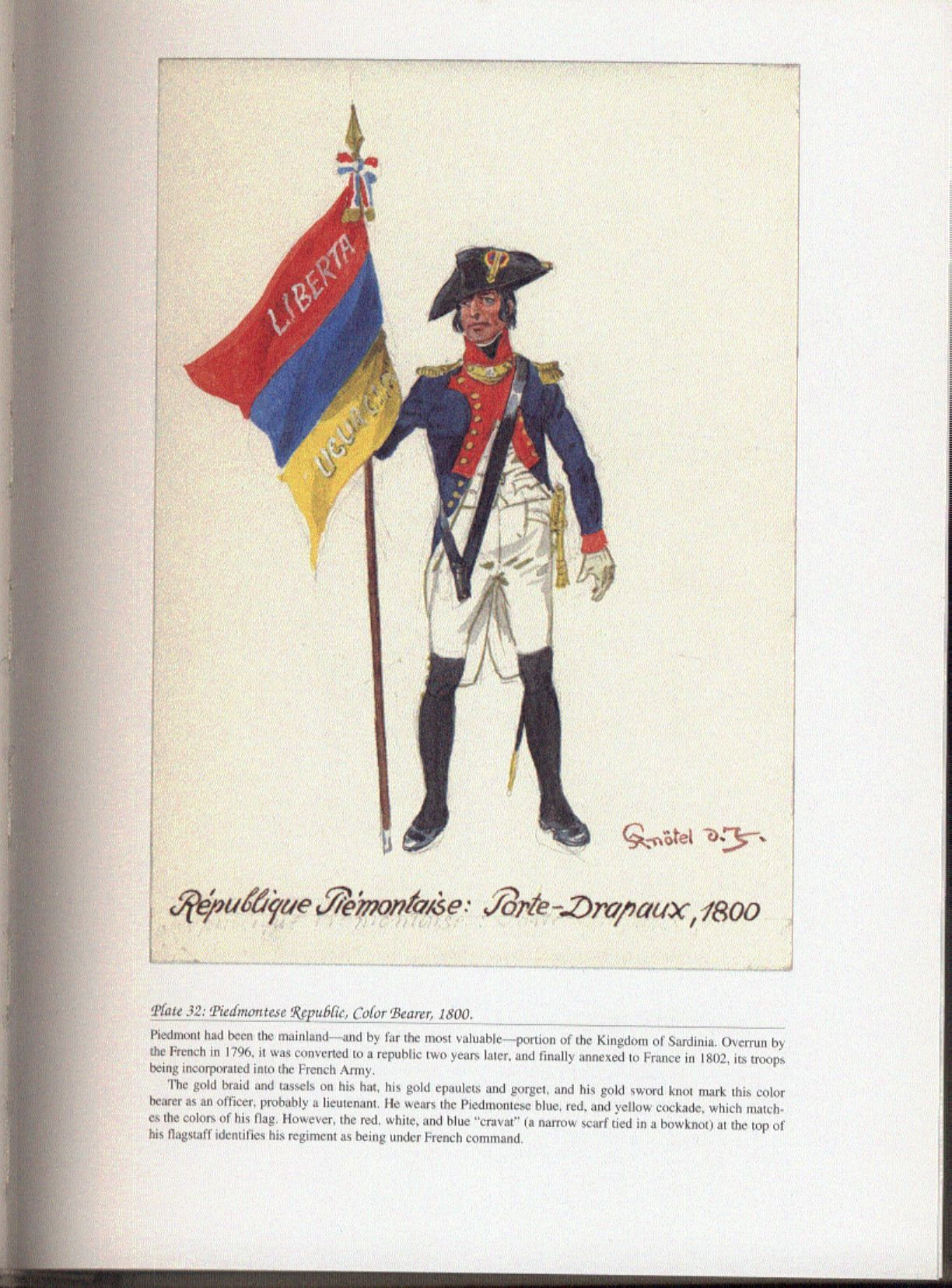 Revolutionary Armies Plate 32 Piedmontese Republic Color Bearer 1800 Guerre Revolutionnaires France
