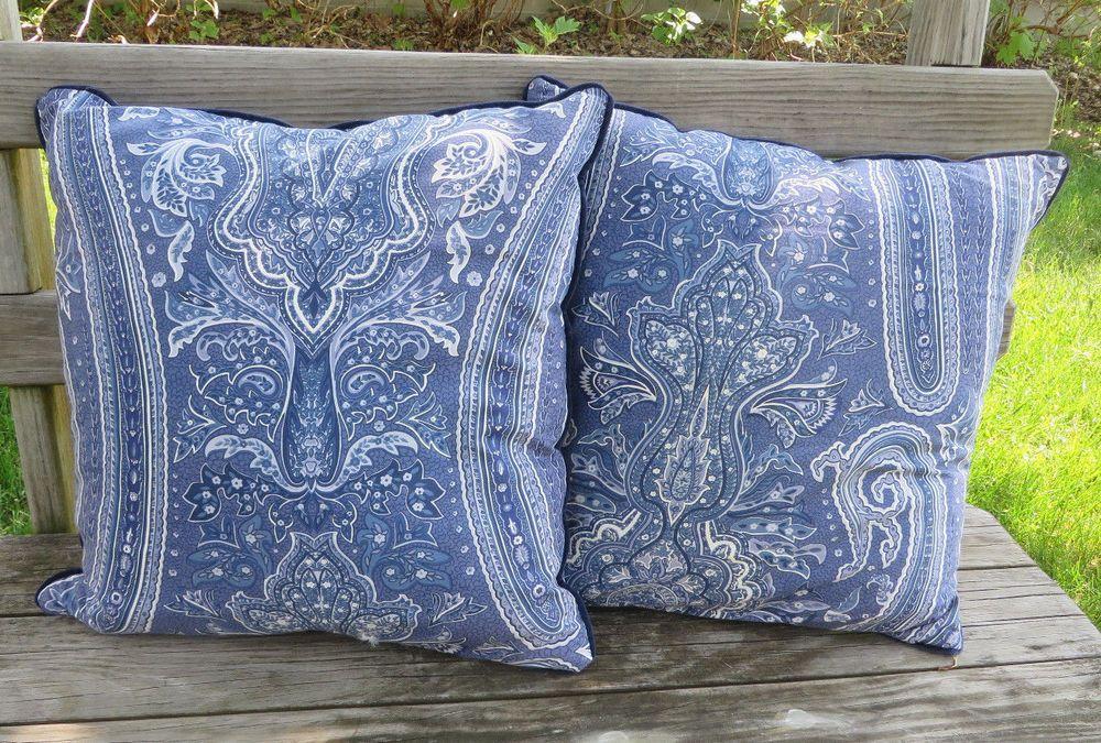 Ralph Lauren PUTNEY Paisley Bed Decorative Throw Pillows Blue White Inspiration Decorative Bed Pillows Blue