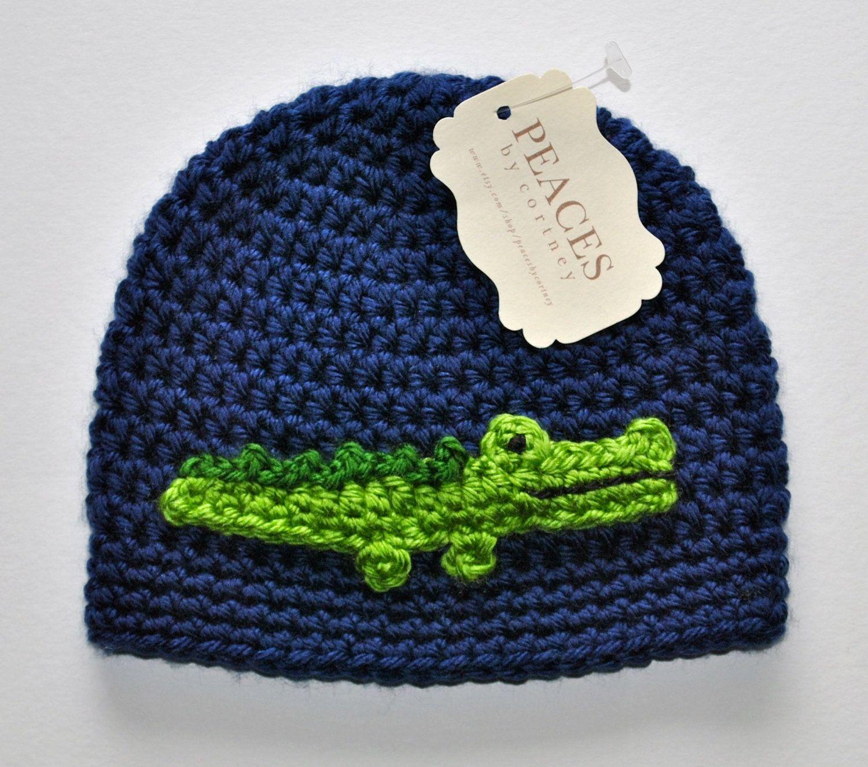 Toddler Hats - Alligator / Crocodile Navy Blue Toddler Beanie Hat ...