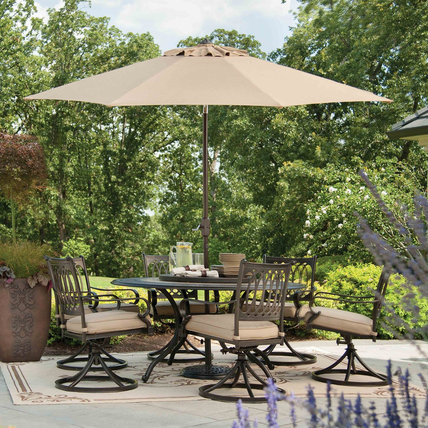 Memberu0027s Mark® Madison Porcelain And Aluminum Dining Set With Premium  Sunbrella® Fabric   9