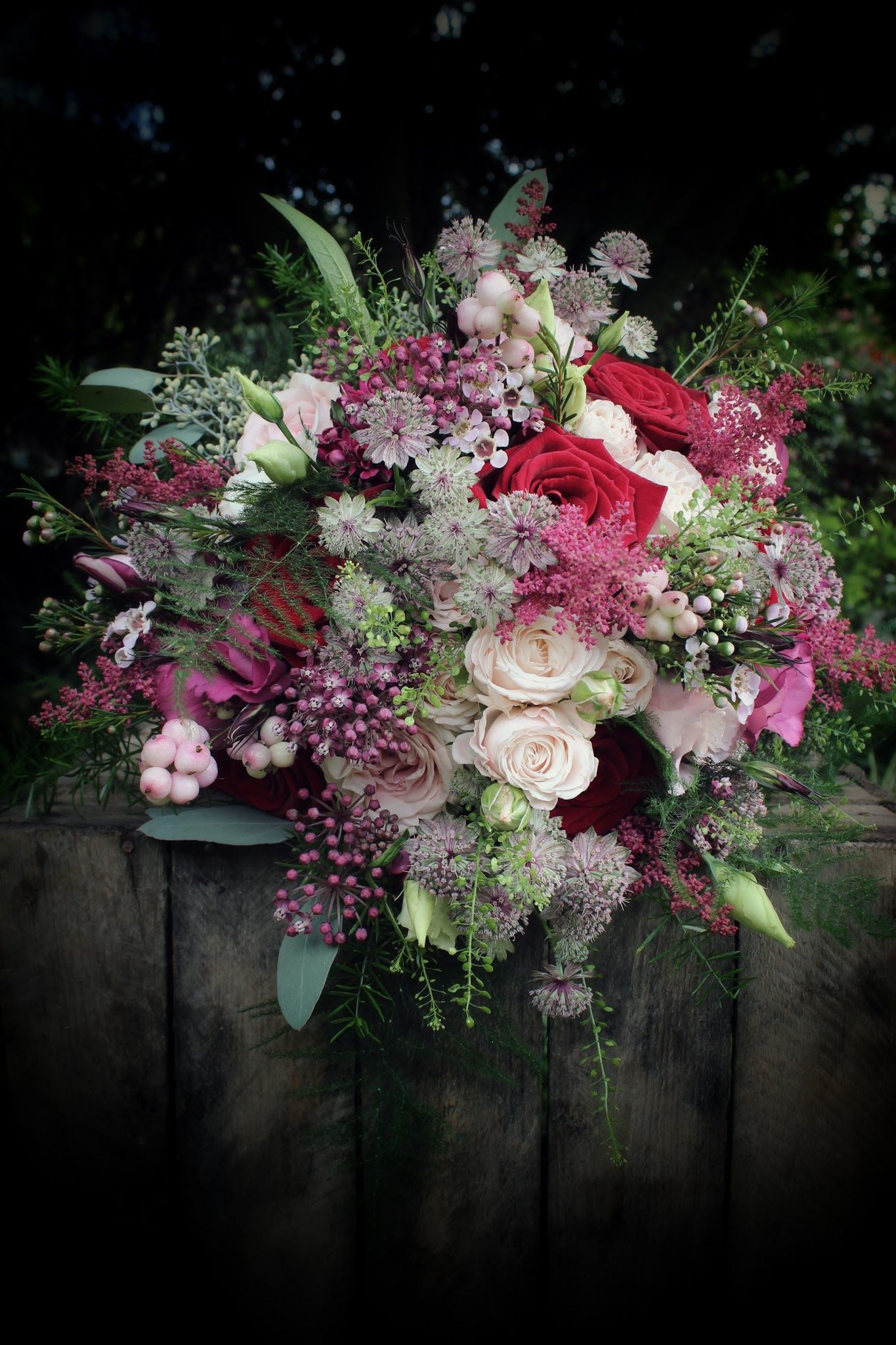 Berry red bouquet. Grand Prix Roses, Bombastic Spray Roses, Astrantia, Lisianthus, Astilbe & Snowberries