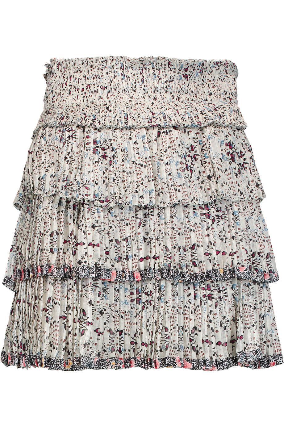 ISABEL MARANT Alicia Pleated Printed Silk Mini Skirt. #isabelmarant #cloth #skirt