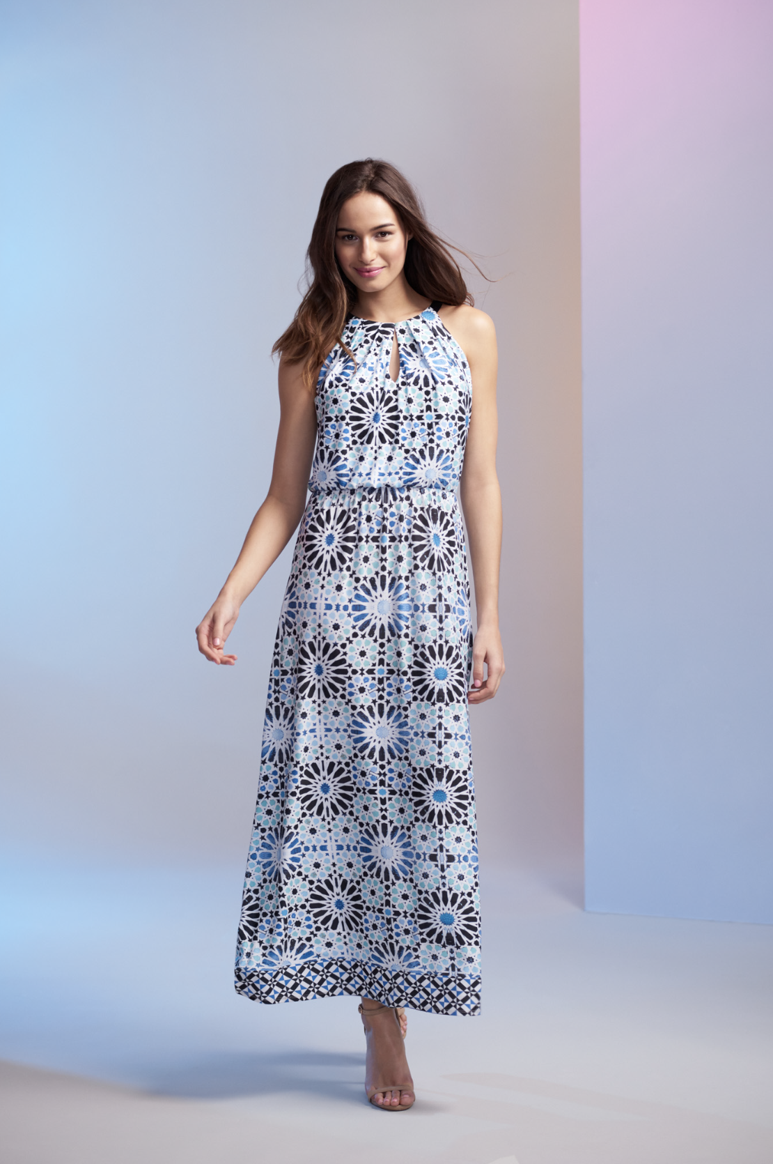 0c2c2e65db Inspired by the Greek island of Mykonos, this tile print maxi dress is  perfect for