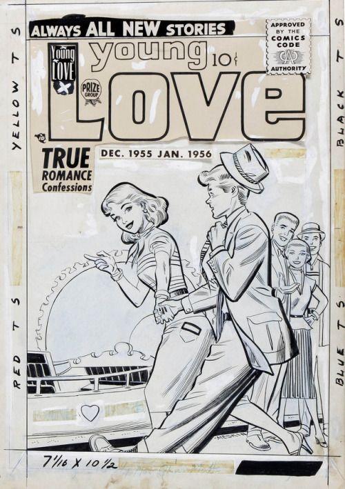 Original and final cover art by Mort Meskin from Young Love #68... Original and final cover art by Mort Meskin from Young Love #68 published by Crestwood Publishing Co. Inc. December 1955.
