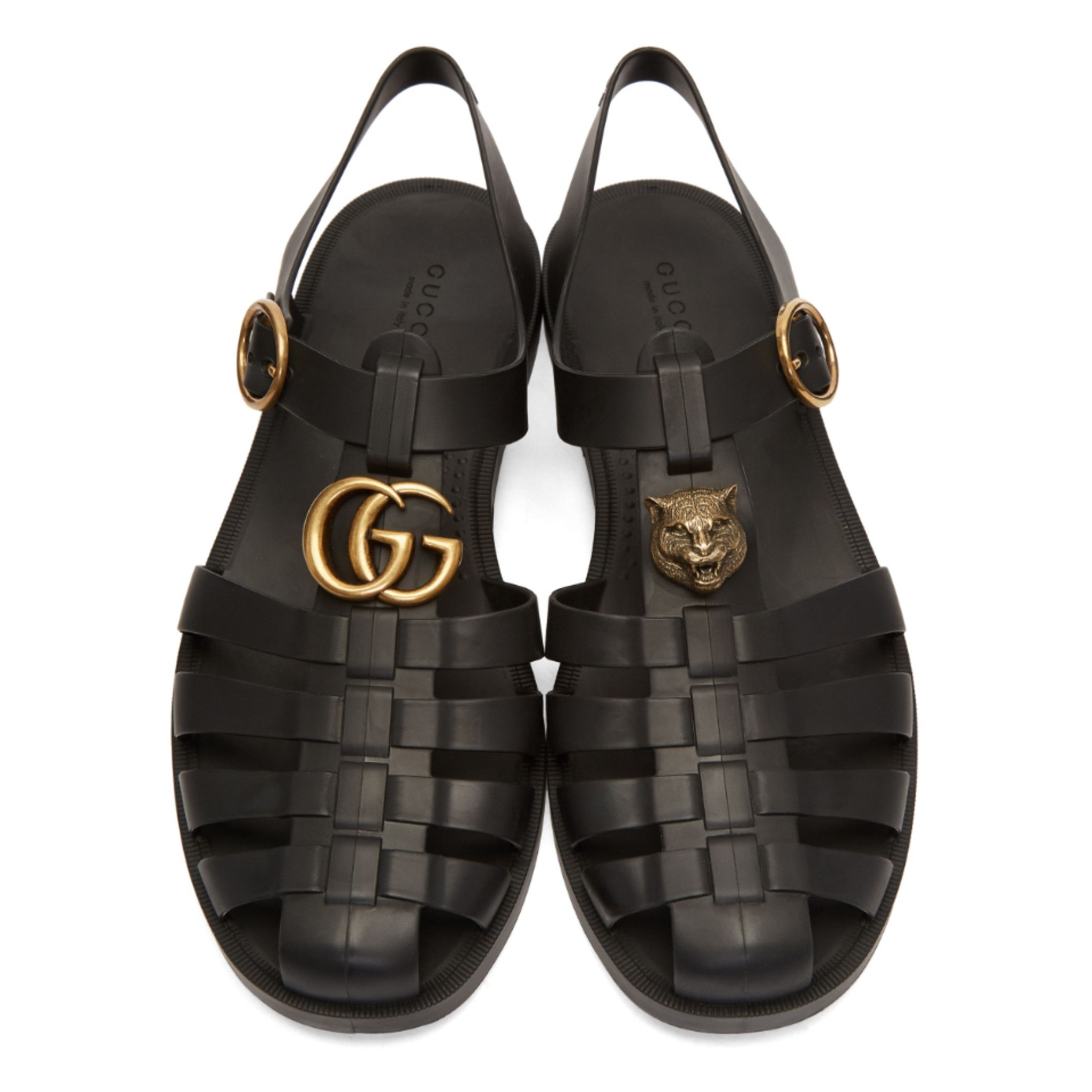 Gucci Black Glossy Rubber Sandals Mens Uggs Sandal Fashion Studded Sandals