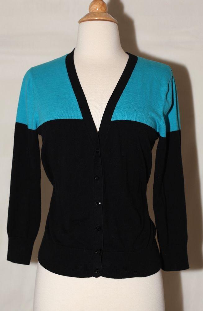 Cable Gauge Sz M Blue Teal Black Color Block Dress Sweater Top Long