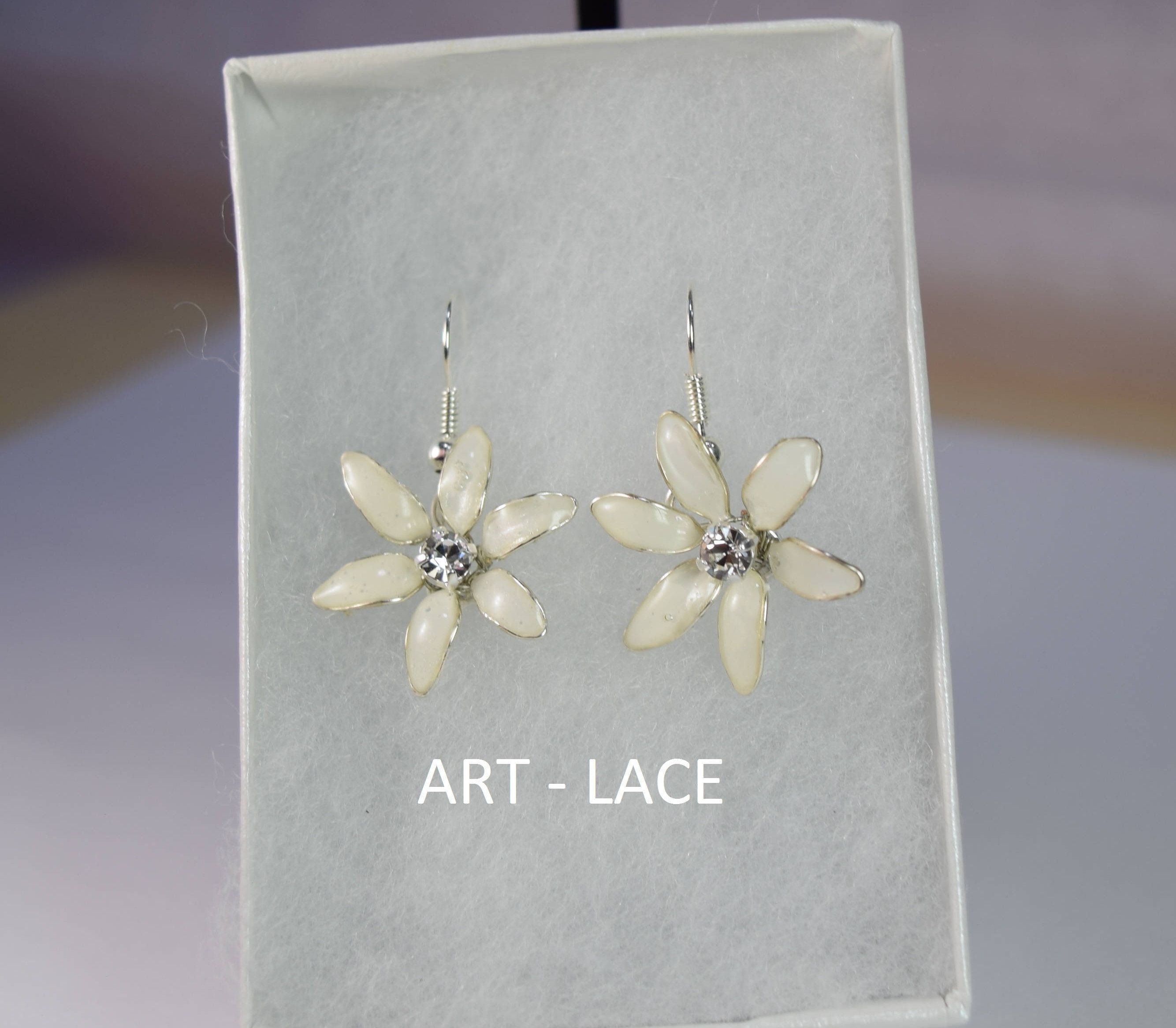 Jasmine flower earrings Pastel flower earrings Cottagecore earrings