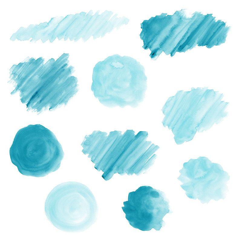 20 blue watercolor splotches  splatters and brush strokes  blue watercolor clip art  transparent