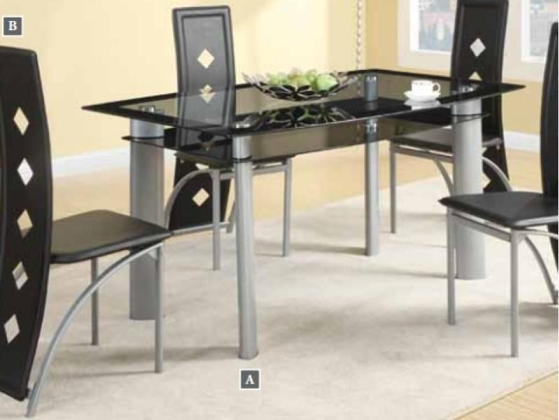Coaster Fontana Glass Top Table With Vinyl Chair Set