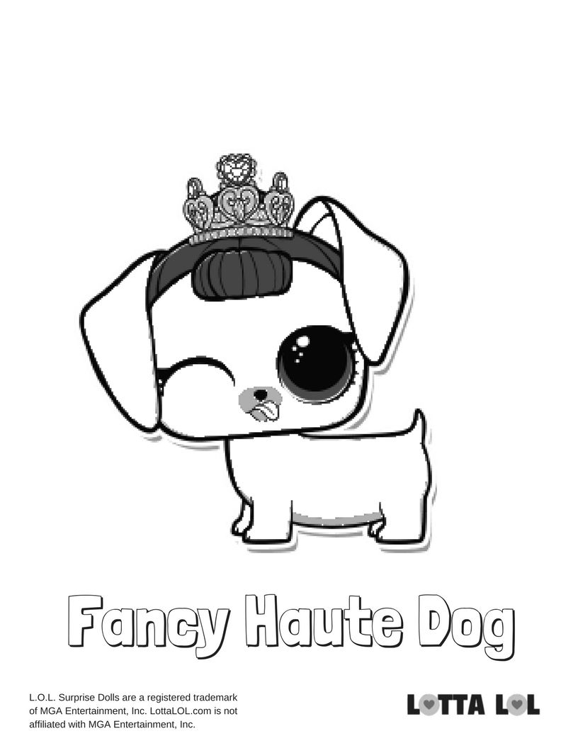 Fancy Haute Dog Coloring Page Lotta Lol Dog Coloring Page Lol Dolls Coloring Pages