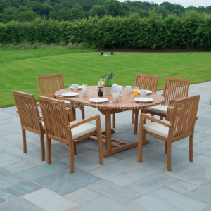 Berkeley Teak Garden Furniture Dining Set 8 Seat Oval Teak Table & Stacking Chairs is part of garden Table Teak - Limited Stock Remaining at This Offer!  Teak garden furniture eight seat dining set made from solid sustainable teak  The perfect teak garden dining set to enjoy dining alfresco  Eight stacking Berkeley teak arm chairs with solid mortise and tenon joints, dowelled and a large teak extending table with butterfly leaf fold away extensions, mortise and tenon joinery with a pre drilled parasol hole  This teak garden table can be used at 180cm or fully extended to 240cm  All in a natural finely sanded finish  Be the envy of your friends and family this year with this super teak garden furniture set  FREE! Tailored chair cushions for a limited time worth £239! Features SVLK Sustainable Teak, Responsively Sourced Strong, Traditional Joinery Minimal Maintenance Ergonomic Design Stacking Chairs 5 Star Reviews Double Extendable Table 12 Month Guarantee Fully Assembled Chairs Why buy from Teak Bench Company  Our products are selected for their high level of craftsmanship, detail and quality; all of our teak is harvested from legal Indonesian Government controlled plantations and is 100% sustainable and SVLK certified  With the use of traditional joinery methods you can have peace of mind in knowing your furniture has been made to a high standard  Teak is also very robust when it comes to the elements and can be left outdoors all year round and is very low maintenance  We hold stock in our own warehouse and can offer a quick turnaround from as quickly as next day delivery on some items  As a family run business we work hard and strive to give our customers the best service we can  All of our teak furniture at Teak Bench Company is legally harvested from Indonesian Government controlled plantations and 100% sustainable teak wood  Our furniture comes with the Trees 4 Trees unique WIN identification number so you can trace the source of the teak all the way back to the forest it was from  All of our furniture comes with a 12 months guarantee to ensure you have peace of mind in the highly unlikely event of a fault occurring  All of our teak garden benches are made from premium grade solid teak, harvested from Indonesian government controlled plantations  Minimal easy DIY assembly is required for the table legs, instructions are included  Chairs are fully assembled for your immediate enjoyment