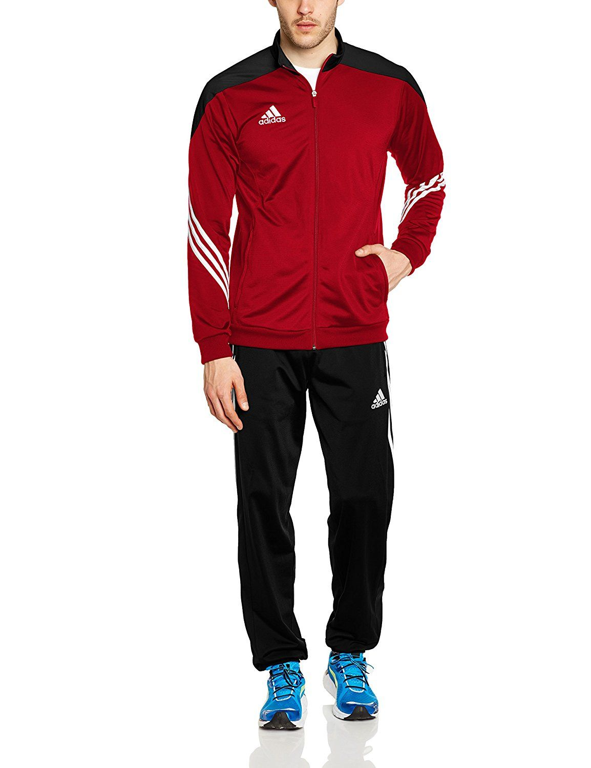 666a0175fb adidas Men's Sereno 14 Polyester Tracksuit - University Red/Black/White,  Medium