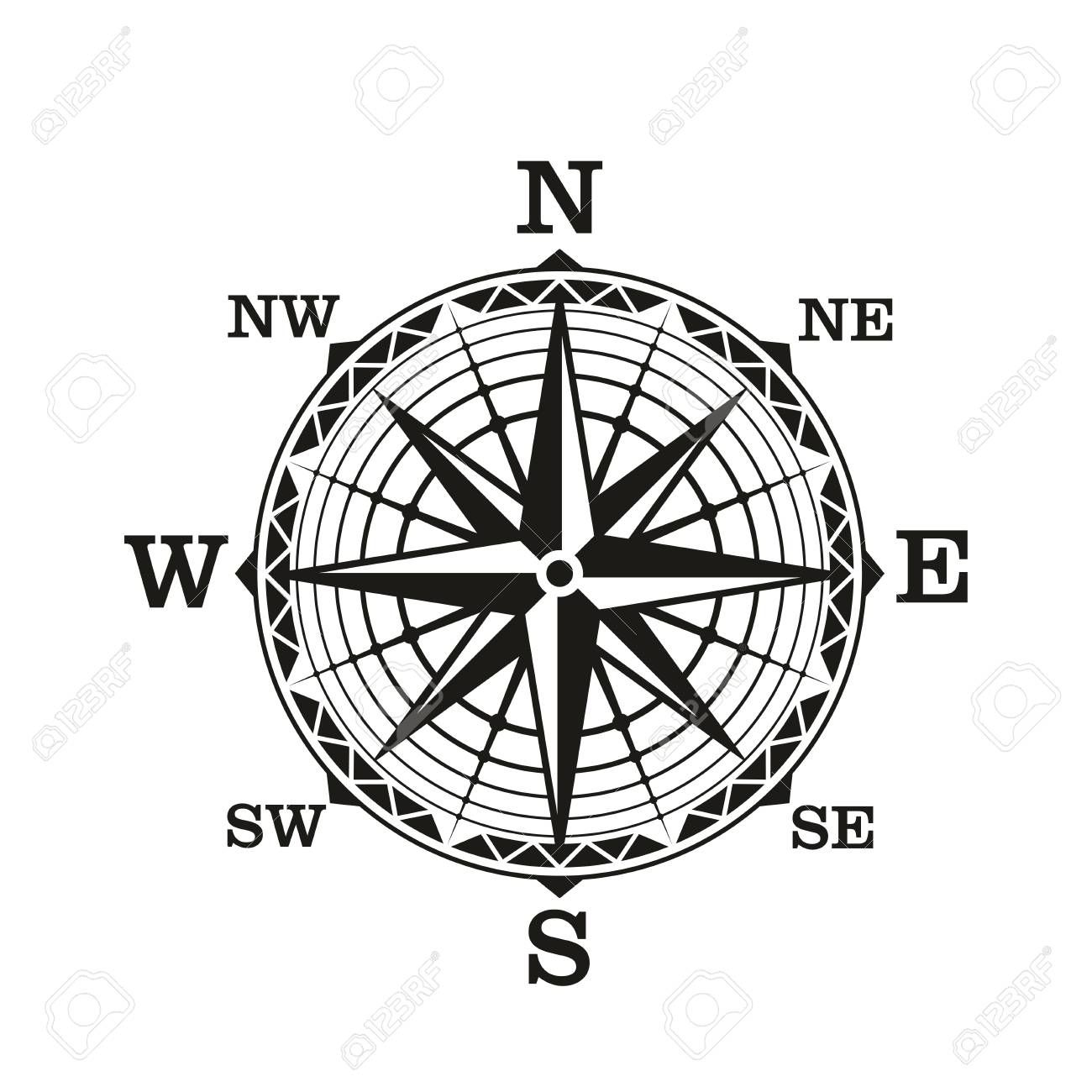 Compass Wind Rose Vector Icon Old Vintage Nautical Navigation Sign With Star Scale Of North South East And West Dire Wind Rose Vintage Nautical Cartography