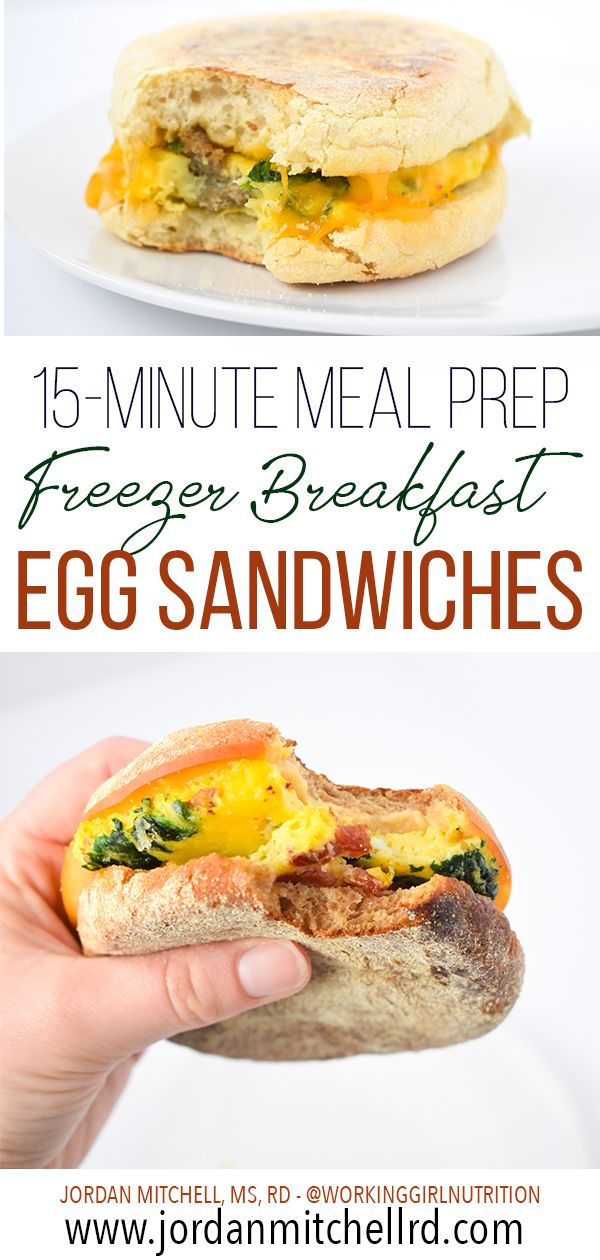15-Minute Meal Prep Freezer Breakfast Egg Sandwiches #weeklymealprep