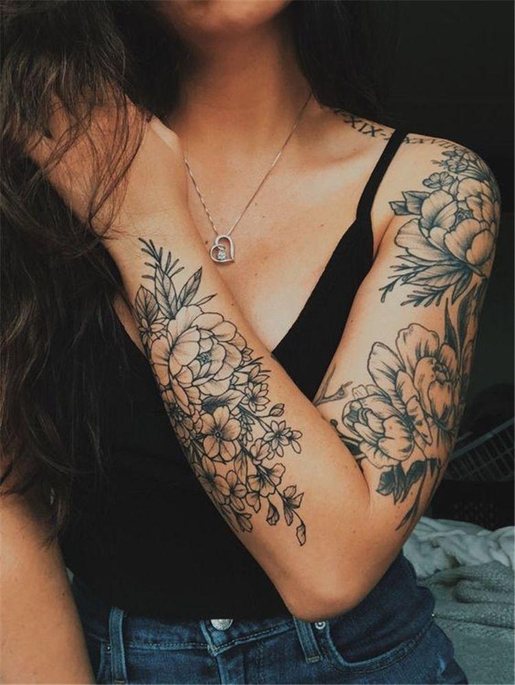 Flower Arm Sleeve : flower, sleeve, Exclusive, Stunning, Floral, Sleeve, Tattoo, Designs, Inspiration;, Awesome, Tattoos;, Tat…, Sleeve,, Tattoos,, Beautiful, Tattoos