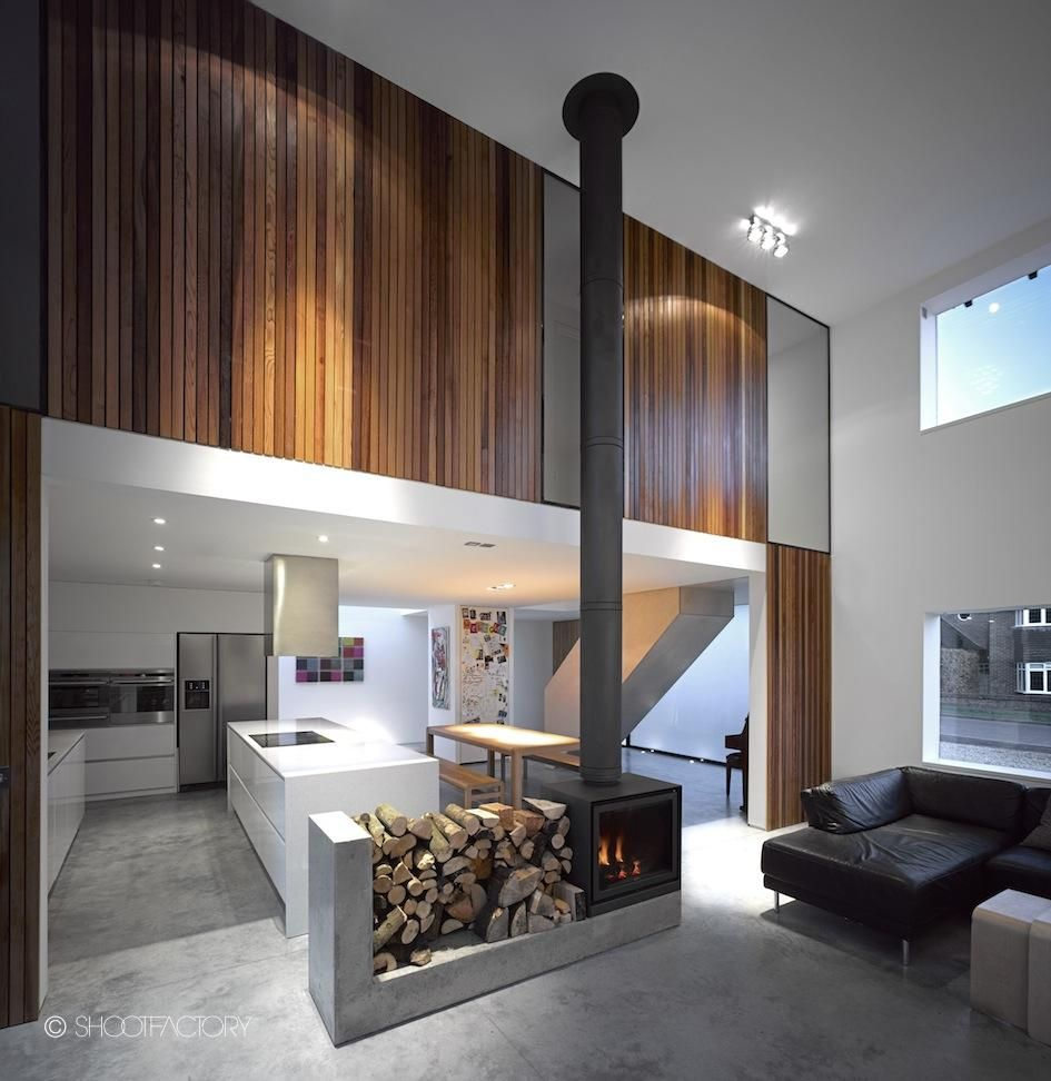 Interior Design Woodburner In Double Height Room