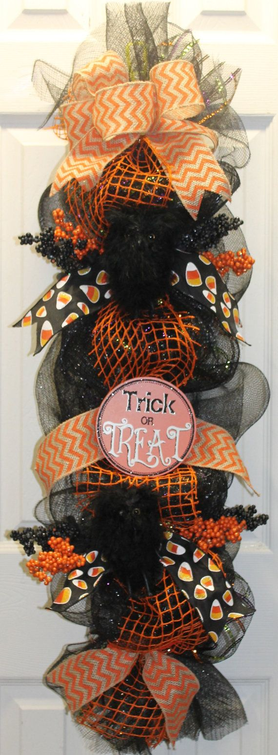 Trick or Treat Halloween Mesh wreath Swag by southernchicbyle on Etsy
