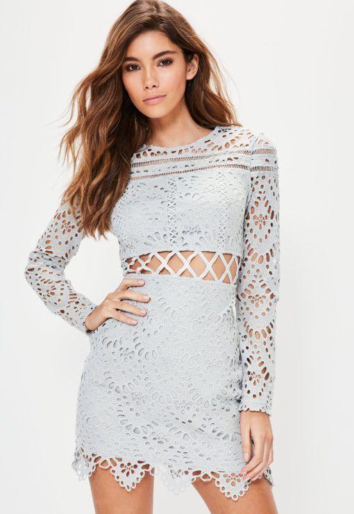 5152d2a849bf Grey Lace Cross Waist Mini Dress. | dresslover.co.uk | Lace Dresses ...