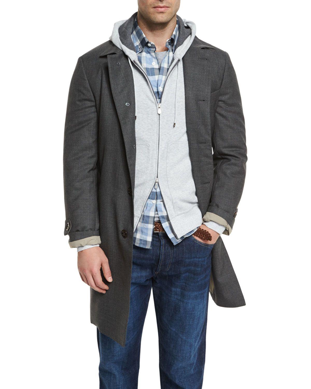 Wool Single-Breasted Coat, Lignite - Brunello Cucinelli