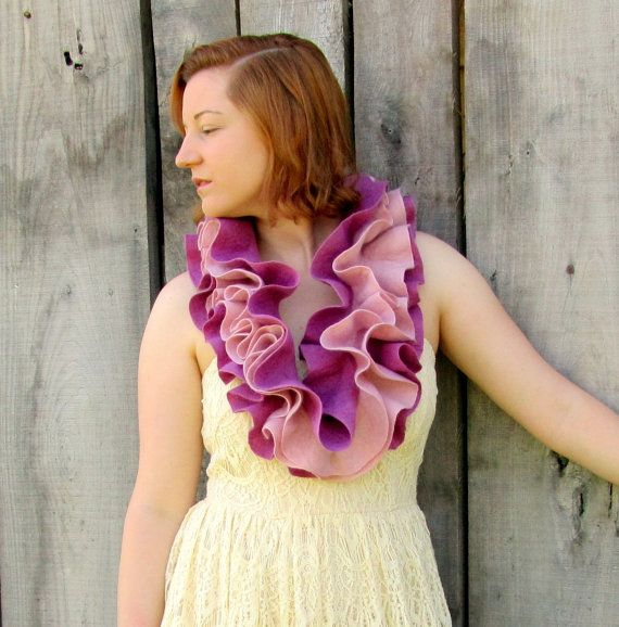Cowl. Ruffle Scarf. Felted Scarf. Infinity Scarf. Handmade Merino Wool Circle Scarf by HandiCraftKate on Etsy $65