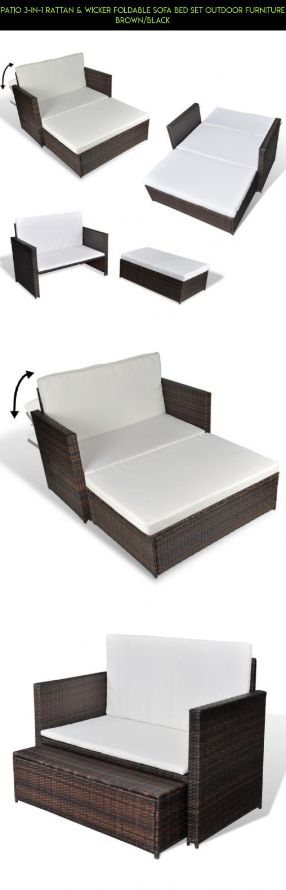 Flexsteel Sofa Patio in Rattan u Wicker Foldable Sofa bed Set Outdoor Furniture Brown