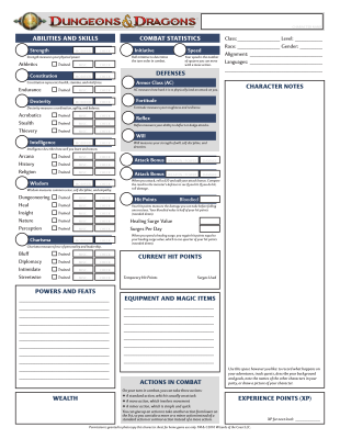 character sheet PDF form, Free download. Dungeons and Dragons.
