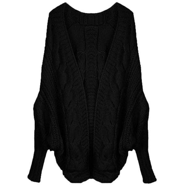 Black Elegant Ladies Batwing Sleeve Cardigan Sweater Coat ($20 ...
